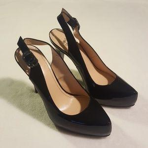 Nando Muzi patent leather slingback stilettos